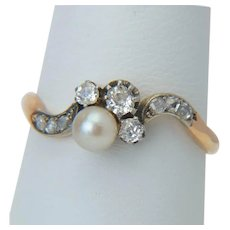 Art Nouveau diamond pearl ring 18 karat reddish gold silver top antique engagement ring circa 1890 s