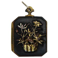 Antique Shakudo gilded silver pendant/locket circa 1880s