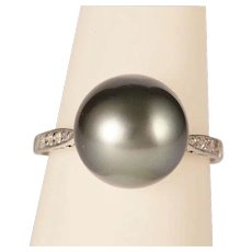 Art Deco black Tahitian pearl diamonds platinum ring