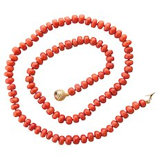 Antique natural untreated red coral necklace antique clasp