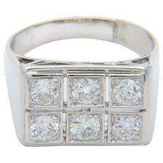 Diamond Engagement ring 0.90 cwt Platinum 950 Art Deco circa 1930 s