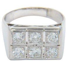 Diamond Engagement ring 0.90 cwt Platinum 950 Art Deco circa 1930 s