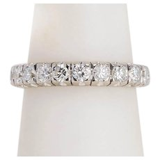 Bridal elegant 1.50 cwt diamond wedding band 18 karat white gold US Size 7