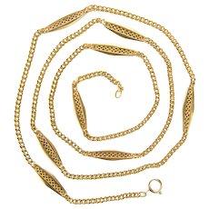 Antique decorative chain/necklace Victorian circa 1890 s 18 karat yellow gold 32 inches