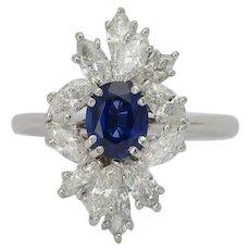 1.50 cwt Marquise-cut Diamonds 1.20 carat Sapphire engagement ring platinum 950 circa 1970