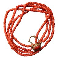 Antique coral two strands necklace natural untreated coral 14 k yellow gold antique clasp