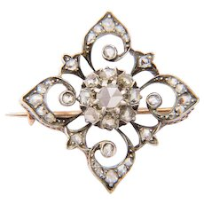 Antique rose-cut diamonds brooch Victorian circa 1860