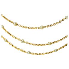 Antique chain/necklace pearls 18 karat yellow gold 59 inches Victorian circa 1890 s