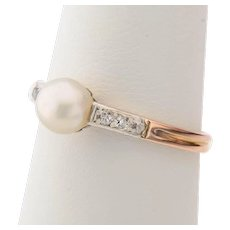 Antique diamond and pearl ring Victorian circa 1890-1900 s