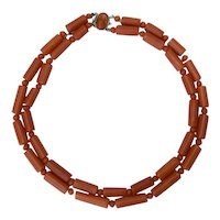 Two strands natural untreated coral necklace silver cameo clasp