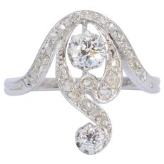 Antique diamond engagement ring Art Nouveau circa 1900