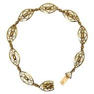 Antique French Art Nouveau 18 karat yellow gold bracelet circa 1900