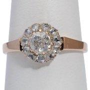 Antique diamond cluster ring 18 k pinkish gold  Victorian circa 1890