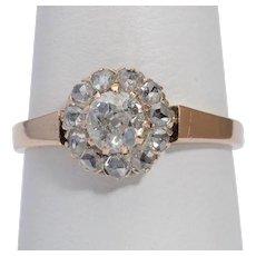Victorian diamond engagement ring 18 k pinkish gold circa 1890