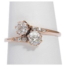 "Original Art Nouveau diamond engagement ring "" You & Me"" circa 1900 s"