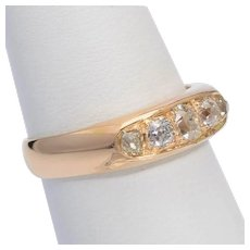 Elegant Unisex engagement diamond ring 18 k yellow gold Victorian circa 1890 s