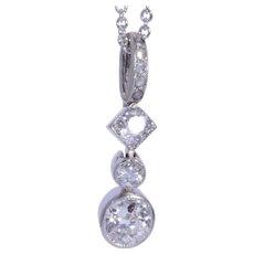 Super elegant 0.88 cwt diamond pendant platinum Edwardian circa 1910