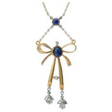 Elegant Summer Necklace Diamonds Sapphires 18 karat gold circa 1915