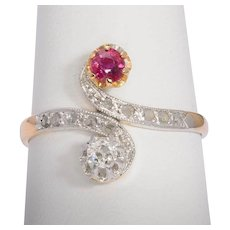 Antique Art Nouveau diamond ruby ring 18 karat yellow platinum top circa 1900