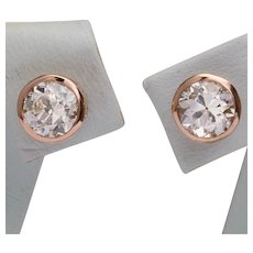 Antique 1.50 cwt diamonds stud earrings 18 karat pinkish gold circa 1910