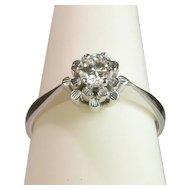 0.30 ct Diamond engagement ring / anniversary ring 18 karat white gold circa 1960 s