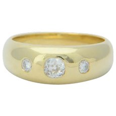 0.45 cwt diamonds UNISEX ring 18 karat yellow gold