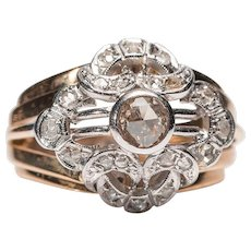 Retro cocktail rose-cut diamond ring 18 karat gold ring circa 1940-1950