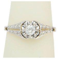 Art Deco 0.40 cwt Diamond engagement ring 18 karat white gold platinum top