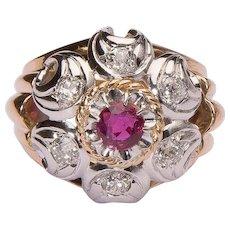 Retro Ruby and Diamonds French cocktail impressive ring circa 1940 s 18 k gold