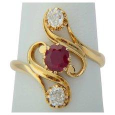 Myanmar Burmese Ruby Diamond ring 18 k yellow gold Art Nouveau circa 1890 s  lab report