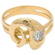 Diamond ring 18 k yellow gold old-cut diamond antique Victorian snake ring