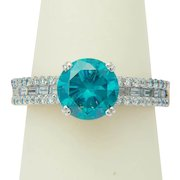 Diamond ring 2.58 carat wt solitaire blue diamond ring 18 k white gold engagement ring / right hand ring / anniversary ring