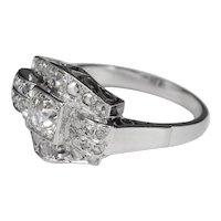 Art Deco diamond engagement ring  circa 1930 white gold 18 k