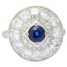 Sparkling 1.80 cwt diamond and 0.75 ct Ceylon sapphire engagement ring 14 k white gold Art Deco circa 1930-35