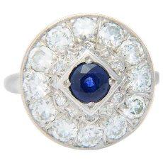 Sparkling 1.80 cwt diamond and 0.75 ct Ceylon sapphire engagement ring 14 k white gold Art Deco circa 1930-35