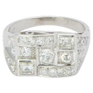1.40 cwt diamond ring platinum 900 Art Deco  engagement ring