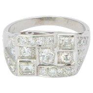 1.40 cwt diamond ring platinum 900 Art Deco  engagement ring