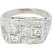 Art Deco 1.40 cwt diamond platinum 900 ring / engagement ring / right hand ring / anniversary ring
