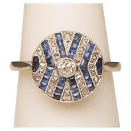 French Art Deco ring diamond calibre natural sapphire platinum and 18 k gold ring
