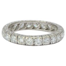 Vintage 1.50 CWT diamonds eternity band / wedding band US Size 7 18 k white gold