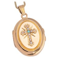 Antique Victorian French locket / pendant pearls turquoise 18 k yellow gold
