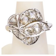 Bold rose-cut diamonds cocktail ring/ right hand ring 18 k white gold