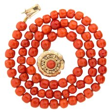 Antique coral necklace natural tomato red color beads 14 k yellow gold clasp