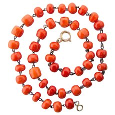 Antique untreated natural coral necklace barrel shape beads 10 mm - 8 mm