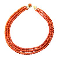 Antique natural untreated three strands coral necklace 18 k yellow gold antique clasp
