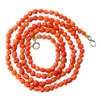 Coral necklace faceted natural untreated coral beads Victorian circa 1880