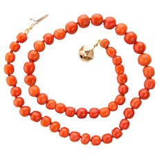 Antique Victorian reddish deep orange bright natural untreated coral necklace beads 11.4 mm - 8 mm diameter