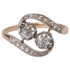 "Art Nouveau diamond ring 18 karat yellow gold  ""You and Me"" engagement ring circa 1890-1900"