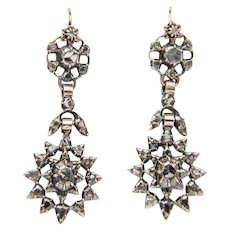 Elegant Late Georgian / Early Victorian rose-cut diamond silver drop earrings circa 1830 s