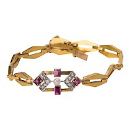 Art Deco bracelet circa 1930 rose-cut diamond ruby pearl 18 k yellow gold